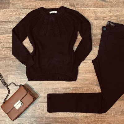 Blusa Tricot Modal  com Textura Top Sarah Black