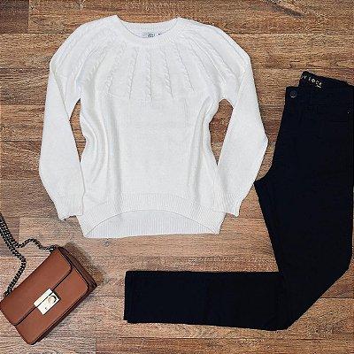 Blusa Tricot Modal  com Textura Top Sarah White