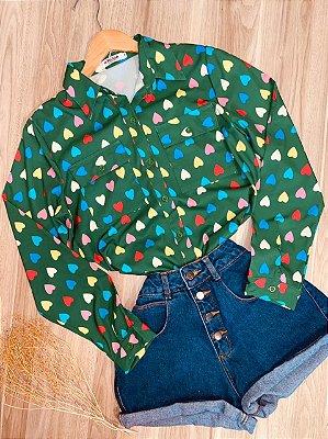 Camisa Corações Coloridos Sarah Verde