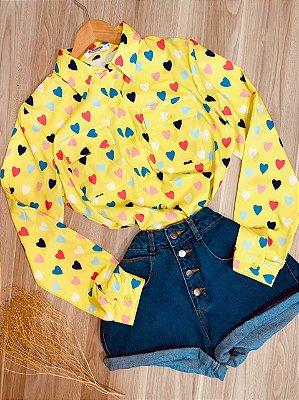 Camisa Corações Coloridos Sarah Amarela