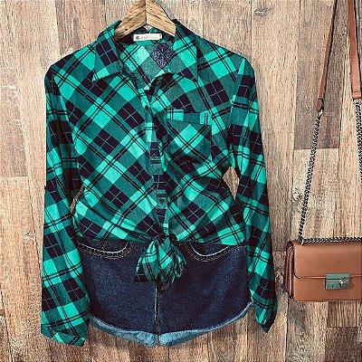 Camisa Xadrez de Amarrar Sarah Verde