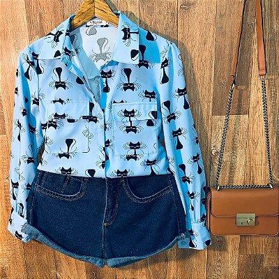 Camisa Gatinhos Sarah Azul Claro