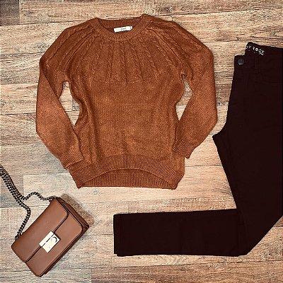 Blusa Tricot Modal  com Textura Top Sarah Caramelo