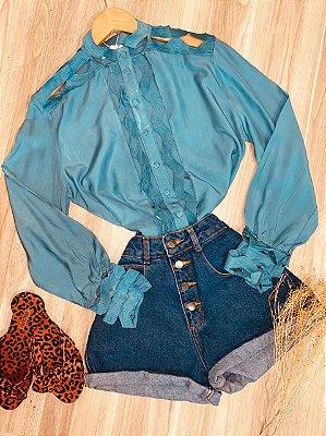 Camisa com Detalhes Vazados Fashion Sarah Azul