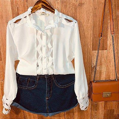 Camisa com Detalhes Vazados Fashion Sarah White