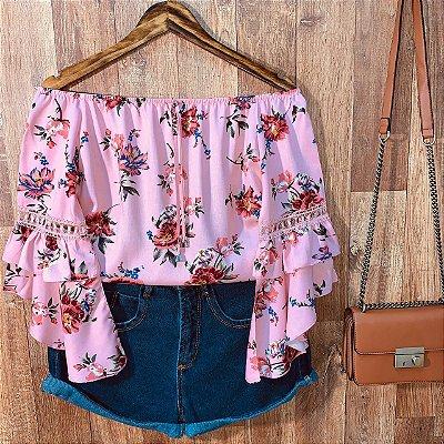 Blusa Ciganinha 3|4 Duplo Babado Sarah Floral Rosa