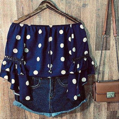 Blusa Ciganinha 3|4 Duplo Babado Sarah Poá Azul e Nudê