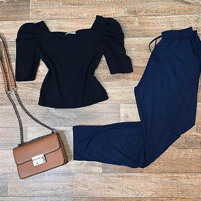 Calça Viscolycra com Bolso Azul Marinho