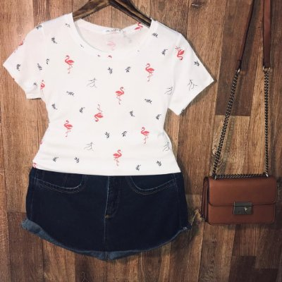 T-shirt Fashion Flamingos Estampa Dupla Branca