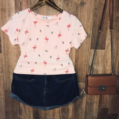 T-shirt Fashion Flamingos Estampa Dupla Rosê