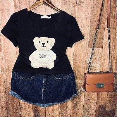 T-shirt Top Ursinho Fofo Black