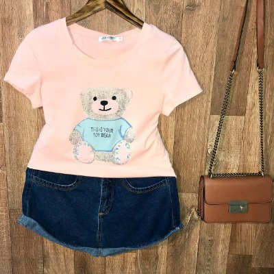 T-shirt Top Ursinho Fofo Rosê