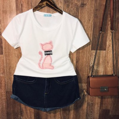T-shirt Top Gatinha White