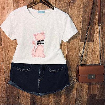 T-shirt Top Gatinha Cinza Claro