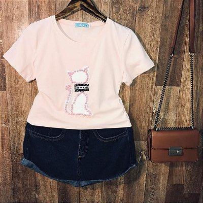 T-shirt Top Gatinha Rosê