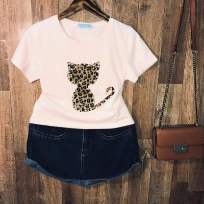 T-shirt Top Cat Animal Print Rosê