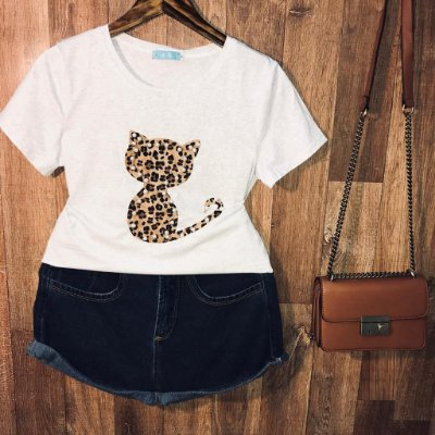 T-shirt Top Cat Animal Print Cinza Claro