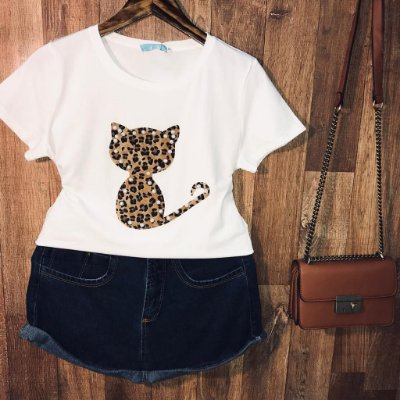 T-shirt Top Cat Animal Print White