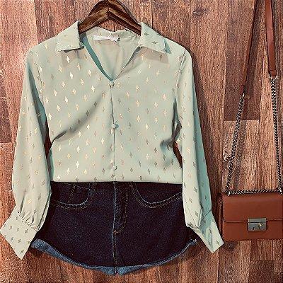Camisa com Detalhes e Toque de Seda Sarah Verde