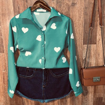 Camisa Heart e Botões Encapados Sarah Verde
