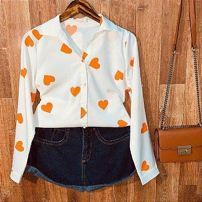 Camisa Heart e Botões Encapados Sarah White