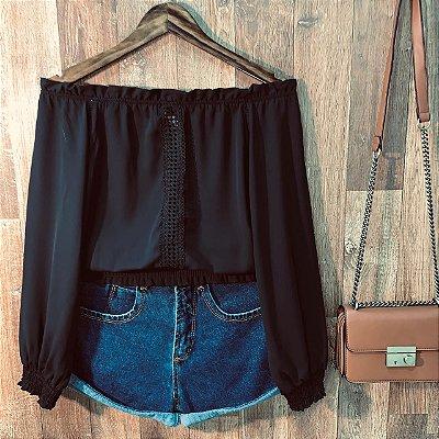 Blusa Ciganinha Cropped com Guipir Black