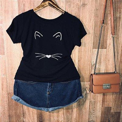 T-shirt Face Cat com glitter