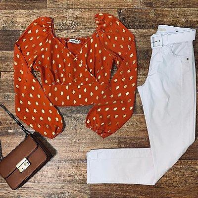 Calça Jeans Dardak Cigarrete Colors com Cinto 1974 White