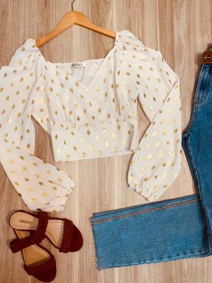 Blusa Cropped com Brilho Manga Princesa Deborah Off White