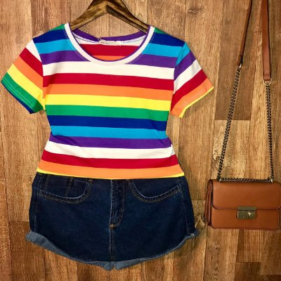 T-shirt Fashion Listras Collors Top B