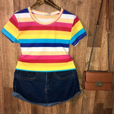T-shirt Fashion Listras Collors Top A