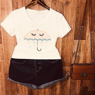 T-shirt Guarda Chuva com Pérolas