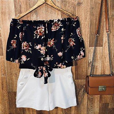 Blusa Ciganinha Cropped de Amarrar Alice Floral Black