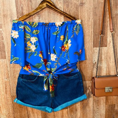 Blusa Ciganinha Cropped de Amarrar Alice Floral Azul