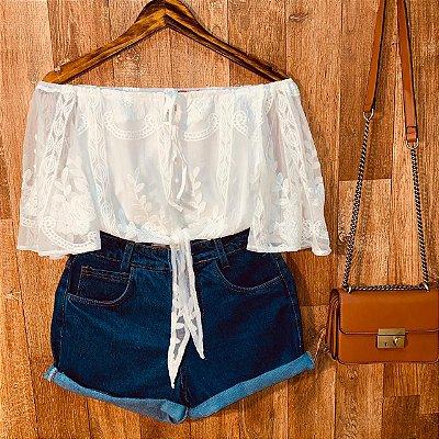 Blusa Ciganinha Cropped de Amarrar Tulê e Renda Alice