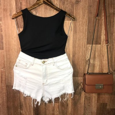 Short Jeans Fashion Rasgado Crystal White