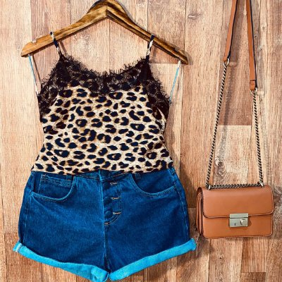 Blusa Alcinha com Renda Alice Animal Print Fashion