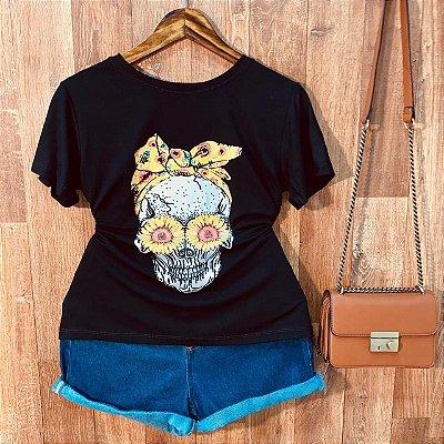 Camiseta Skull Girassóis