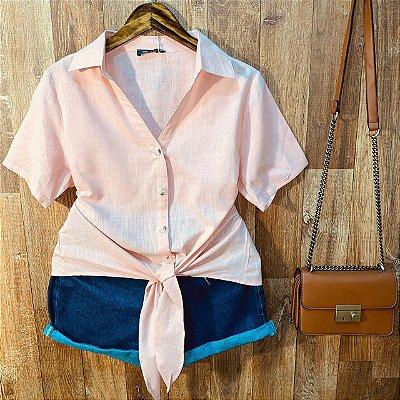 Camisa Linho com Botões de Amarrar Mariah Rosê