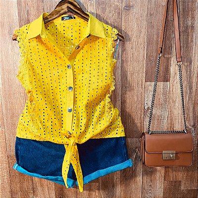 Blusa Regata em Laise com Botões de amarrar Mariah Amarelo