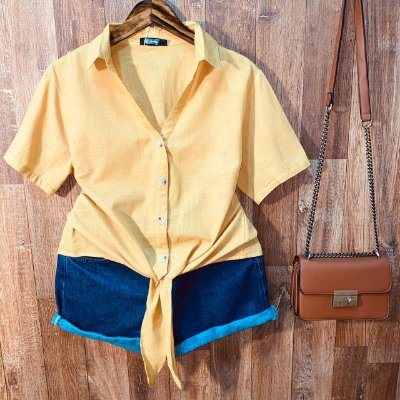 Camisa Linho com Botões de Amarrar Mariah Amarelo