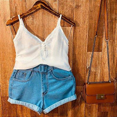 Short Jeans Cintura Alta com Cinto Top Azul Claro