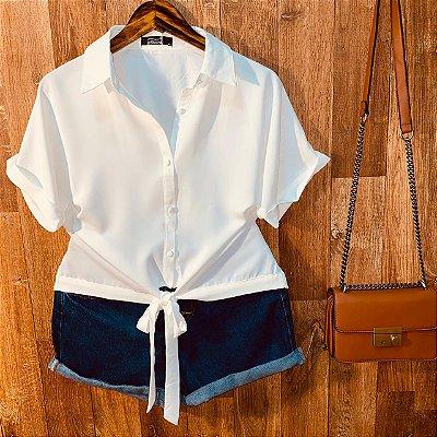 Camisa com Botões Encapados de Amarrar Mariah White