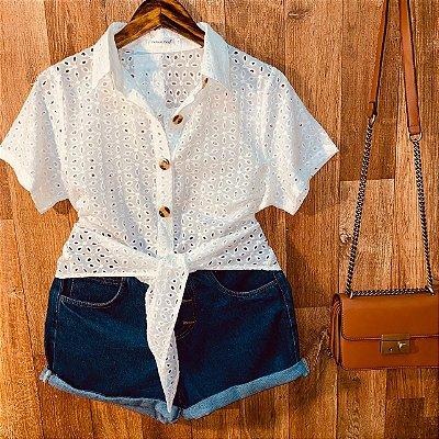 Camisa Laise com Botões de Amarrar Mariah Branco