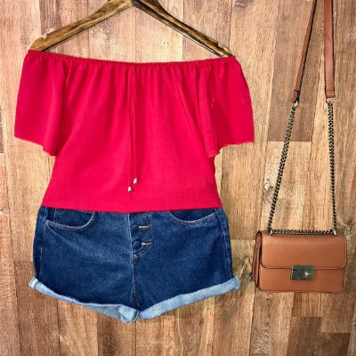 Blusa Ciganinha Manga Curta LB Vermelha