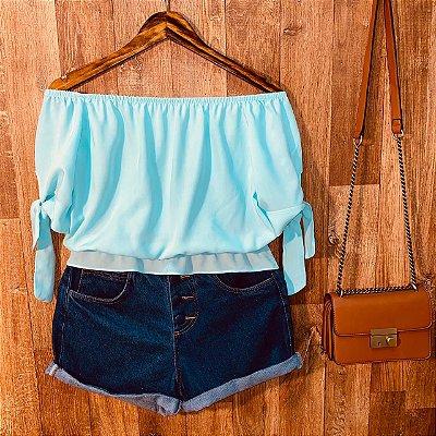 Blusa Ciganinha Com Lacinho na Manga Tatiana Azul Claro