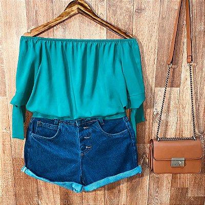 Blusa Ciganinha Com Lacinho na Manga Tatiana Verde