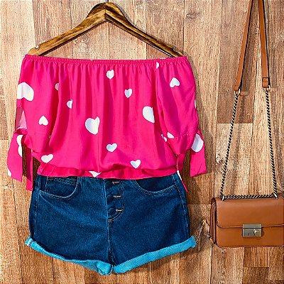 Blusa Ciganinha Com Lacinho na Manga Tatiana Coração Pink