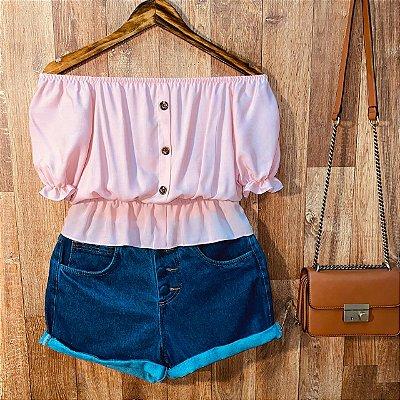 Blusa Ciganinha Cropped com Botões Tatiana Rosê