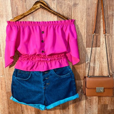 Blusa Ciganinha com Botões Lastex Tatiana Pink